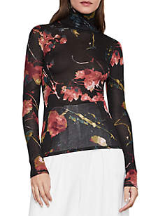 Printed Long Sleeve Layered Top
