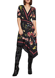 Floral Asymmetrical Faux Wrap Dress