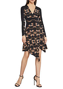BCBGMAXAZRIA Iris Print Faux Wrap Dress