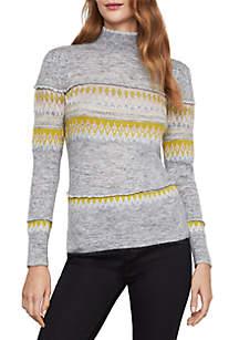 Intarsia Mock Neck Sweater