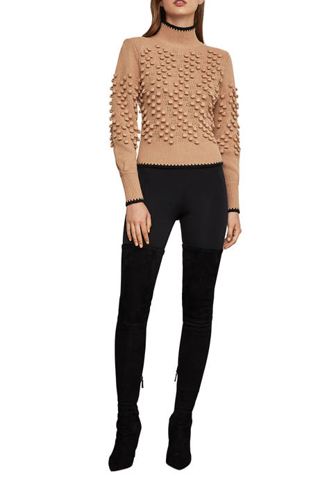 BCBGMAXAZRIA Womens Popcorn Stitch Turtleneck Sweater
