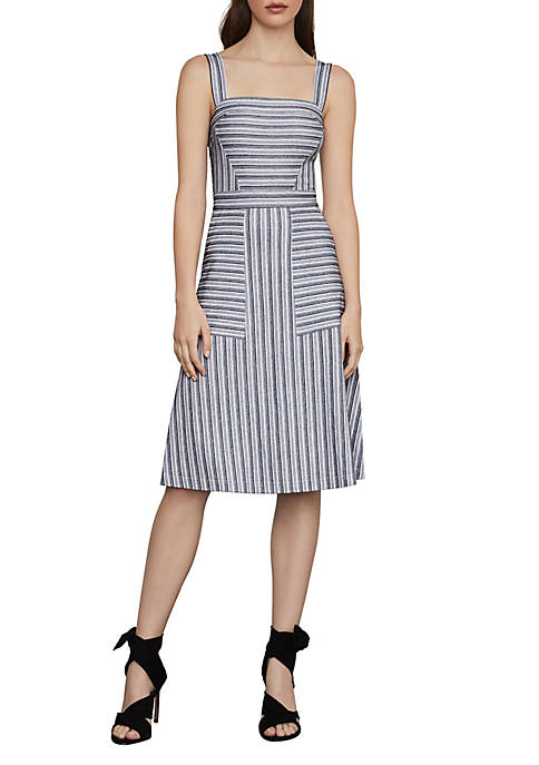 BCBGMAXAZRIA Asymmetrical Stripe Flared Dress