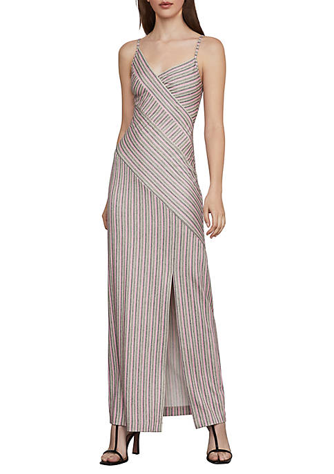 BCBGMAXAZRIA Asymmetrical Stripe Maxi Dress
