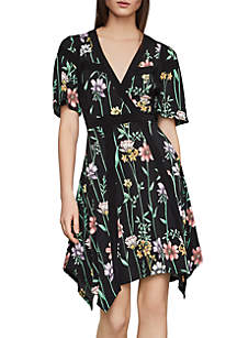 BCBGMAXAZRIA Botanical Floral Asymmetric Dress