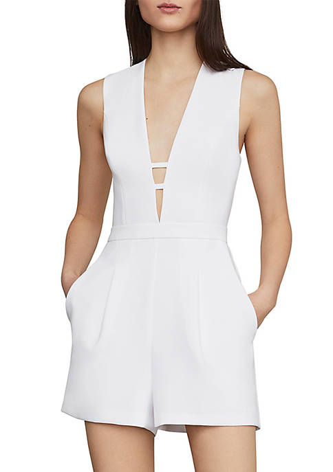 BCBGMAXAZRIA Pleated Deep V Romper