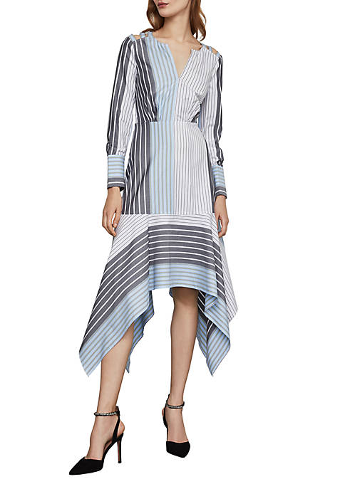 BCBGMAXAZRIA Mixed Stripe Patchwork Dress