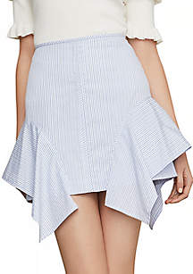 BCBGMAXAZRIA Pinstripe Asymmetric Flared Skirt