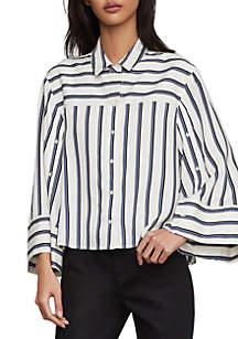 81ad6174db7242 BCBGeneration Frayed Edge Denim Top · BCBGMAXAZRIA Double Stripe High Low  Shirt