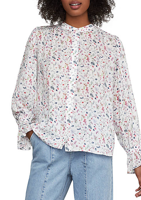 BCBGMAXAZRIA Wildflowers High Low Blouse
