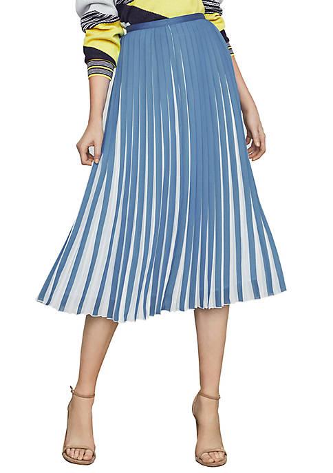 Two Tone Pleated Midi Skirt