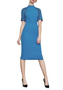 BCBGMAXAZRIA Lace Inset Sheath Dress