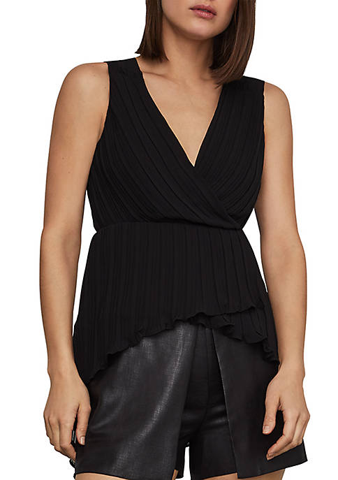 BCBGMAXAZRIA Pleated Asymmetrical Faux Wrap Top