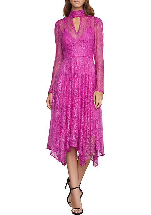 BCBGMAXAZRIA Lace Cocktail Midi Dress