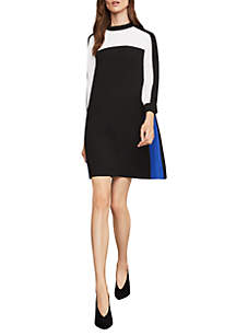 Colorblock Mock Neck A-Line Dress