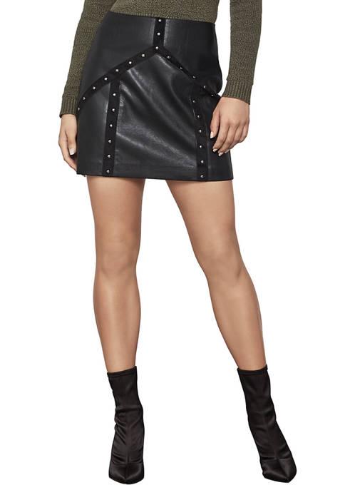 BCBGMAXAZRIA Womens Faux Leather Mini Skirt
