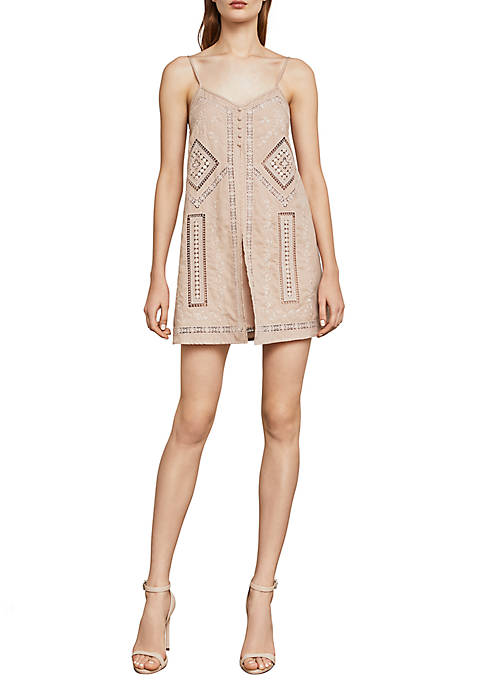 BCBGMAXAZRIA Hartley Sleeveless Embroidered Romper