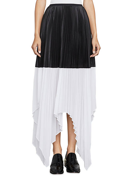 BCBGMAXAZRIA Christy Colorblock Asymmetrical Skirt