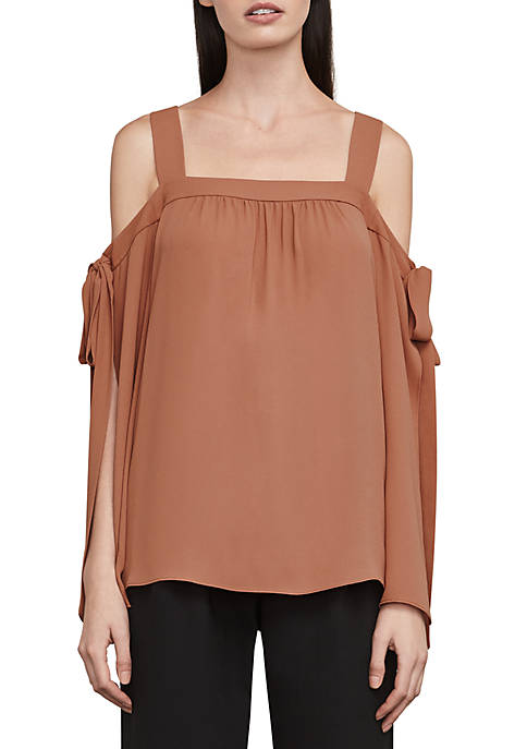 BCBGMAXAZRIA Cold-Shoulder Tie-Sleeve Woven Top