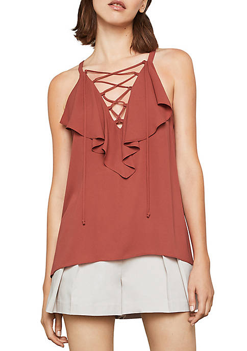 BCBGMAXAZRIA Ruffle Lace-Up Neck Cami