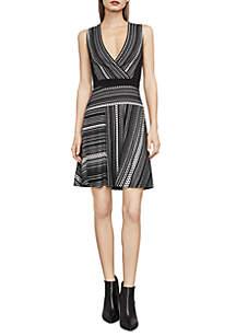 Brecklyn Faux-Wrap Jacquard Dress