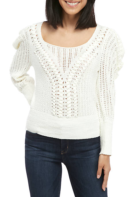 Draped Shoulder Plaited Sweater