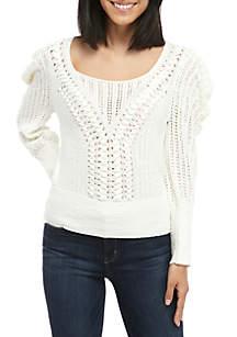 BCBGMAXAZRIA Draped Shoulder Plaited Sweater
