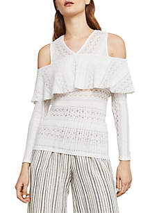 Cold-Shoulder Lace Tee