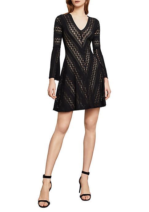 BCBGMAXAZRIA Striped Lace A-Line Dress