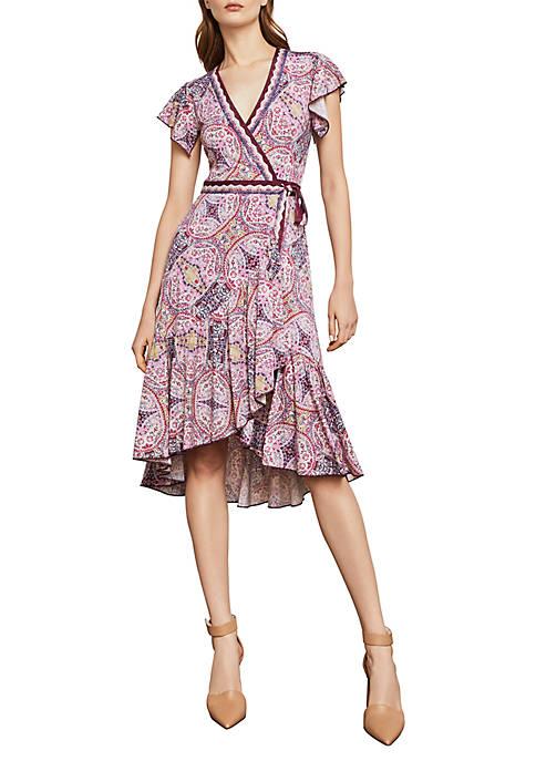 BCBGMAXAZRIA Medallion Print Wrap Dress