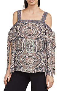 Printed Cold-Shoulder Tie Sleeve Woven Top