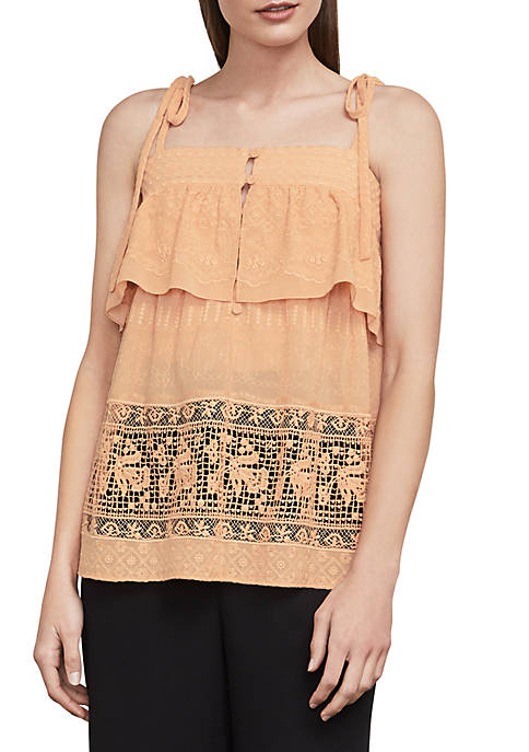 BCBGMAXAZRIA Floral Embroidered Lace Top
