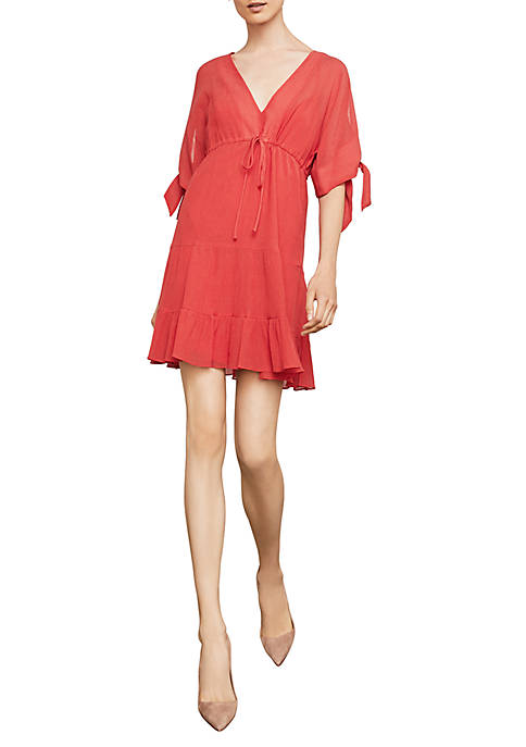 BCBGMAXAZRIA Short Sleeve Drawstring A-Line Dress