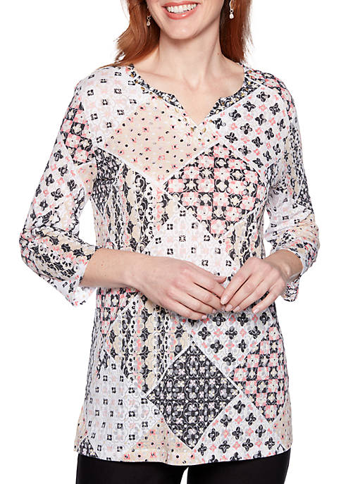 Alfred Dunner Diamond Print Tunic