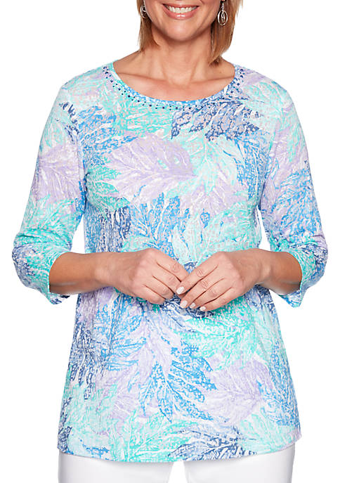 Alfred Dunner Classic Leaf Print Tunic