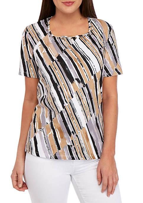 Alfred Dunner Classics Diagonal Stripe Printed T Shirt