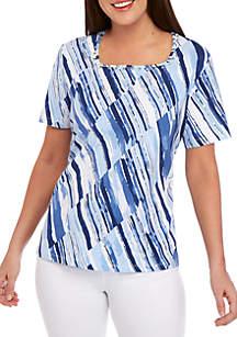 81777450d39 Brahmin Amelia Shoulder Bag · Alfred Dunner Classics Diagonal Stripe Printed  T Shirt