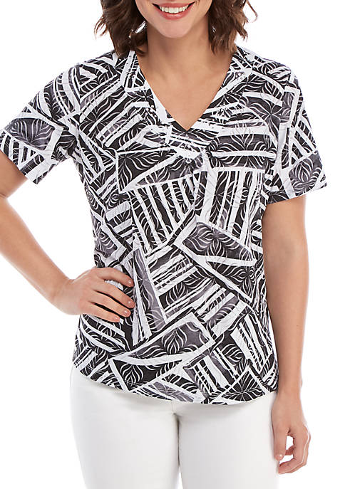 Alfred Dunner Womens Classics Abstract Patchwork Printed T-Shirt