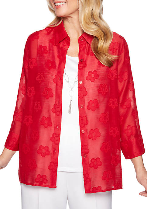 Alfred Dunner Classic Burnout Jacquard 2Fer Top