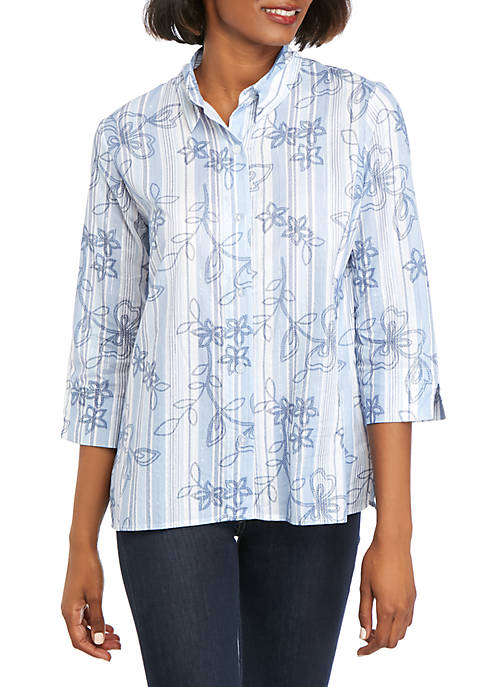 Alfred Dunner Classics Allover Floral Stripe Top