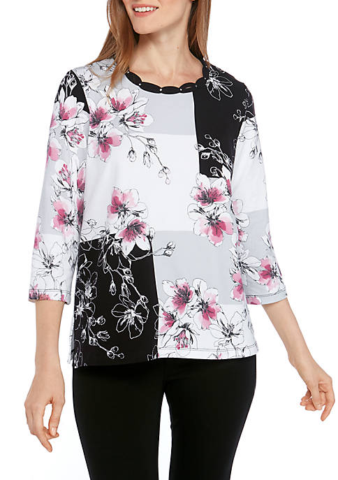 Alfred Dunner Classics Floral Color Block T-Shirt