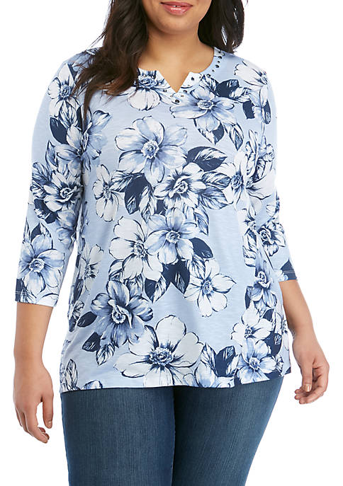 Alfred Dunner Plus Size Floral Tunic