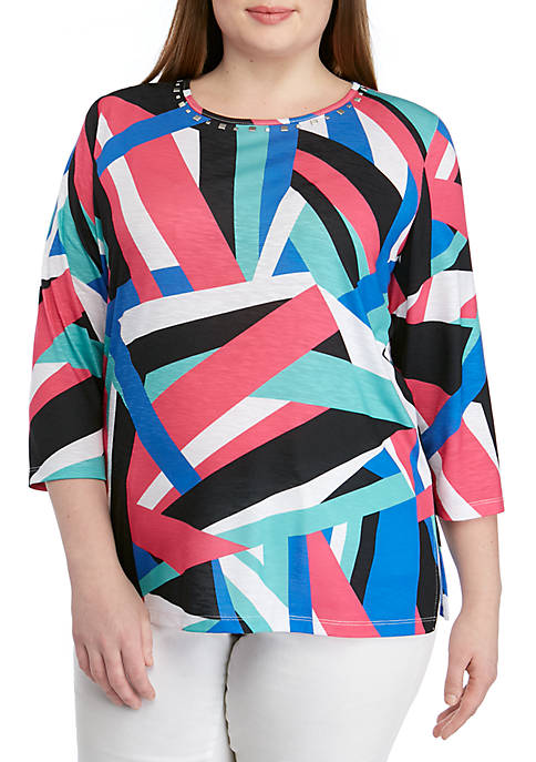 Alfred Dunner Plus Size Geometric Tunic