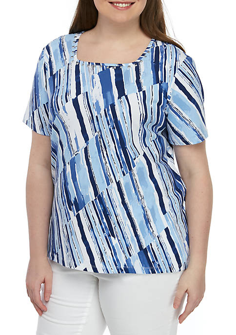 Alfred Dunner Plus Size Classics Broken Stripe Tee