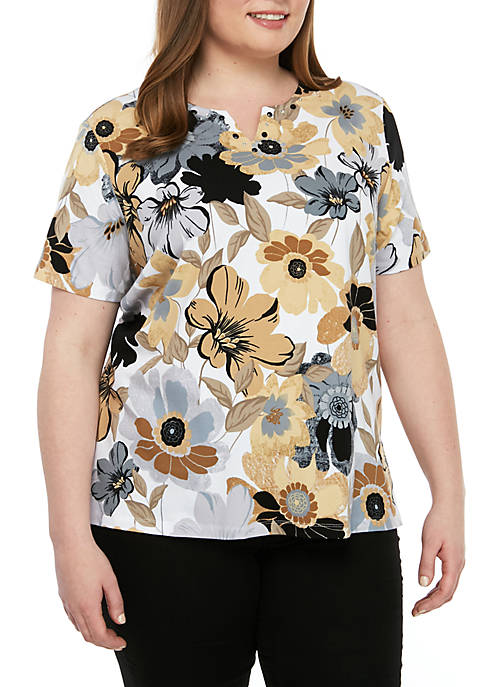 Alfred Dunner Plus Size Classics Floral Tee