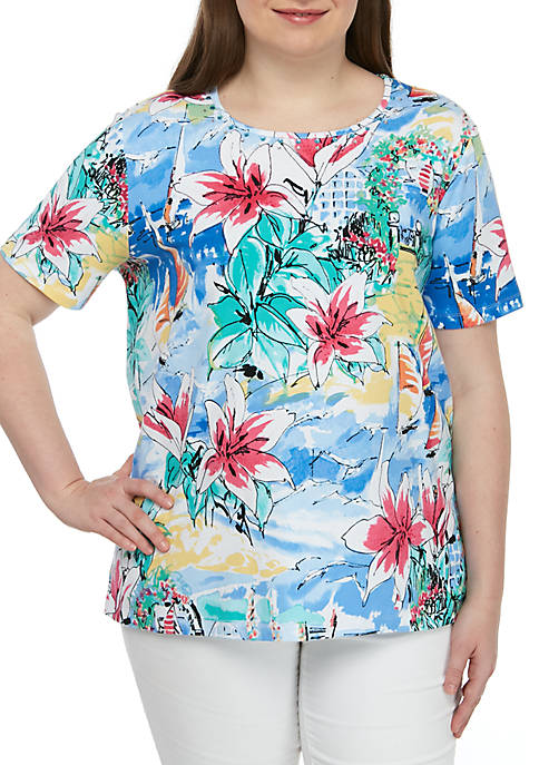 Alfred Dunner Plus Size Classics Scenic Sailboats Tee