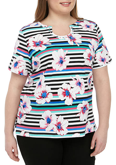 Alfred Dunner Plus Size Classics Stripe Floral Tee