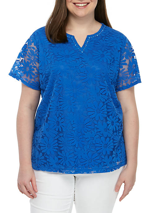 Alfred Dunner Plus Size Classics Solid Knit Lace