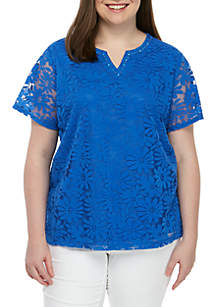 7ea5b918431 ... Alfred Dunner Plus Size Classics Solid Knit Lace Top