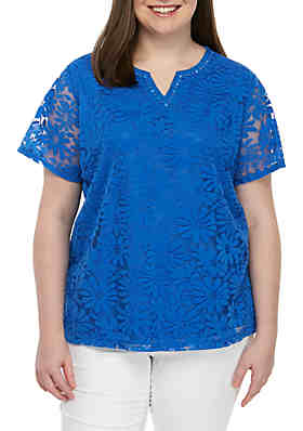 6e77269d0edd7 Alfred Dunner Plus Size Classics Solid Knit Lace Top ...