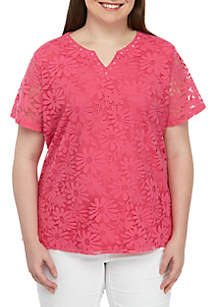 90d74910ab1 ... Alfred Dunner Plus Size Classics Solid Knit Lace Top